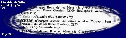 Extrait Du Bottin Mondain 1982 Page 1092